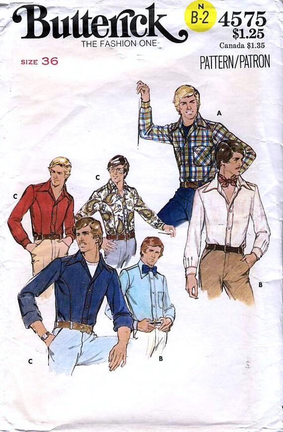 Butterick 4575 Vintage 70s Men's Shirt Sewing Pattern - Uncut - Size 36