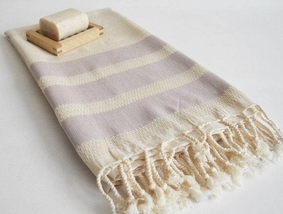 Bathstyle Turkish BATH Towel Peshtemal - LINEN - Purple Striped