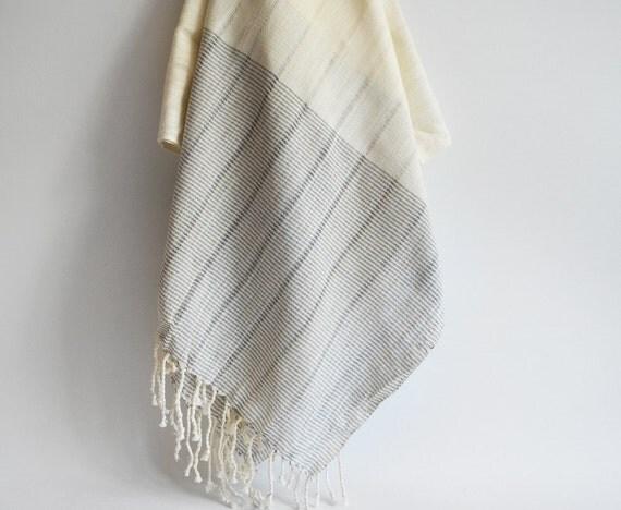 Turkish BATH Towel Handwoven Peshtemal - LINEN - Gray