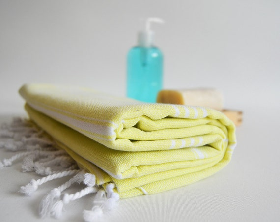 Turkish BATH Towel - Classic Peshtemal - Yellow Green (white striped)