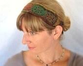 Wool Crochet Headband - Mixed Colors Yellow, Green, Red