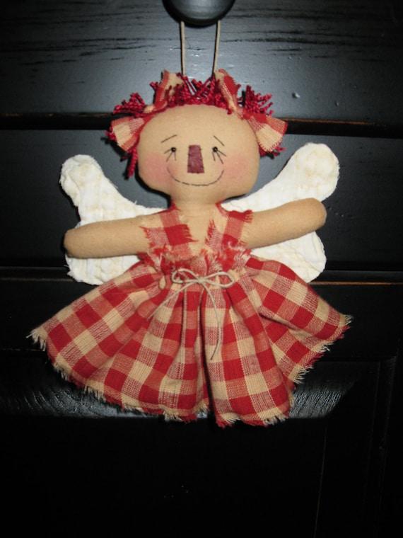 Primitive Raggedy Ann Angel Ornie or tuck