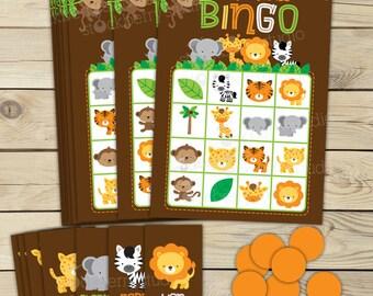 Safari Jungle Baby Shower Bingo Game - Birthday Party Games - Instant Download - Safari Animals Baby Shower Games Printable - Bingo Cards
