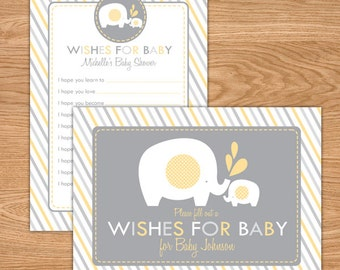 Elephant Baby Shower Wishes for Baby Printable - Yellow and Gray Baby Shower Games - Advice Cards - Neutral Baby Shower Well Wishes For Baby
