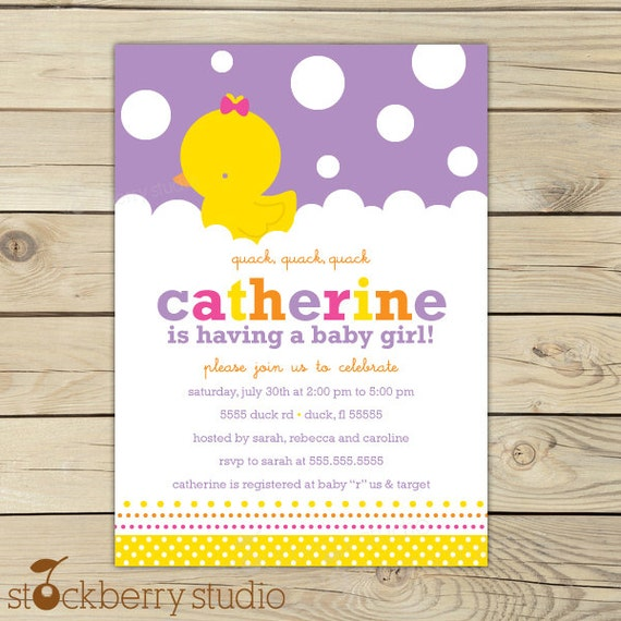 Girl Rubber Ducky Baby Shower Invitation Printable Rubber Duck