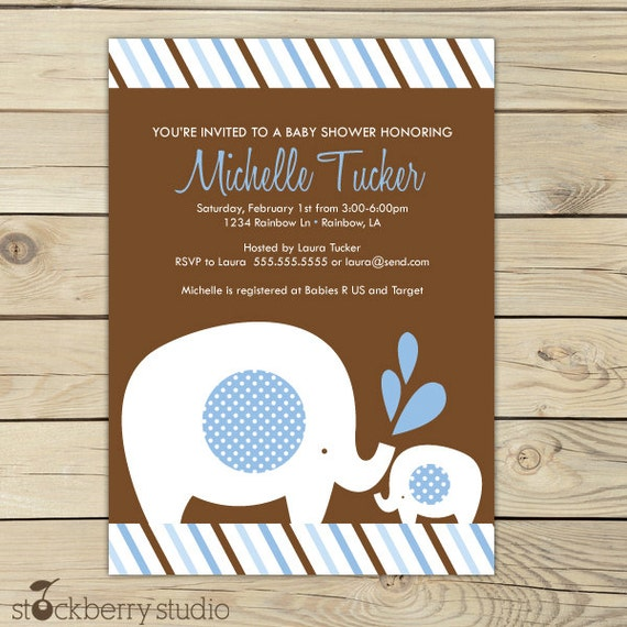 Boy elephant baby shower invitation blue and brown baby shower il570xn filmwisefo