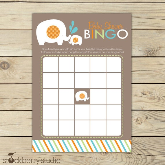 Elephant Baby Bingo Card - Boy Baby Shower Bingo Game Printable - Instant Download - Aqua Blue, Green and Orange