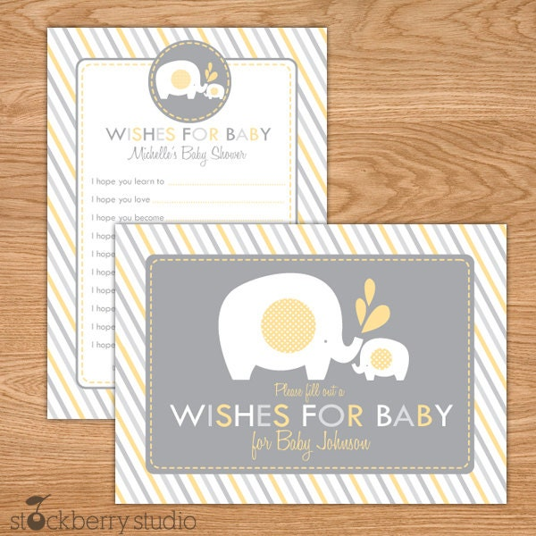 Elephant Baby Shower Wishes For Baby Printable Yellow And