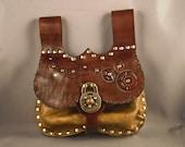 Steampunk leather belt pouch - ocher -