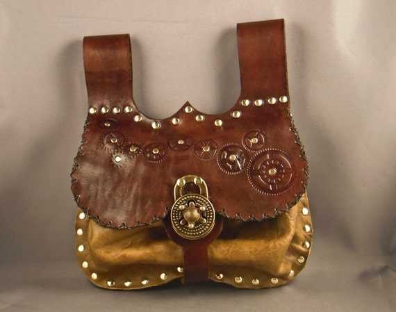 Steampunk leather belt pouch - ocher -