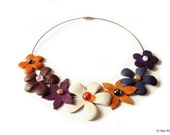 Leather Floral Necklace, Statement Necklace, Bib, Leather Collar, Orange Tangerine, Brown, Purple, Cream, Flowers, Leather Jewelry