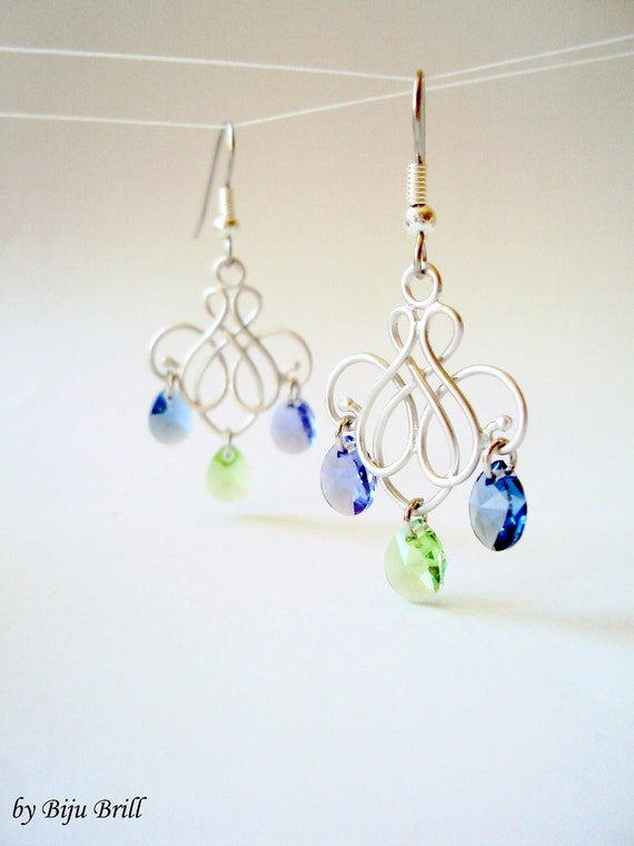 Reserved for Joyce-Silver Chandelier Earrings, Romantic Swarovski Earrings, Drop Earrings, Charm Earrings, Purple Blue Green