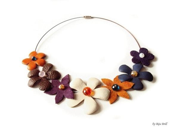 Leather Floral Necklace, Statement Necklace, Bib, Leather Collar, Orange Tangerine, Brown, Purple, Cream, Flowers, Leather Jewelry