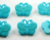 Turquoise Butterfly Buttons Set of Six
