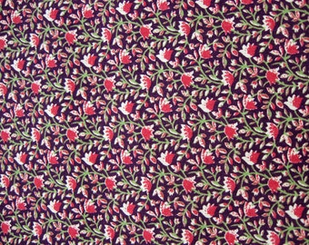 Maroon with Floral Print Fat Quarter