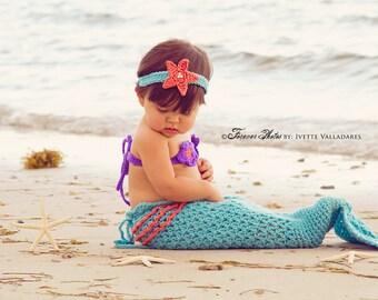 Mermaid Tail with Ruffles, Halloween, Photo Prop, Newborn to Six Months, Aqua Mermaid, Bikini Top, Starfish Headband, Summer, Baby Girl