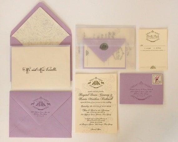 "SAMPLE - ""Krystal"" Letterpress Wedding Invitations"