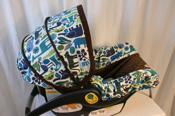LAST ONE - Zoo with brown minky boy  Infant car seat cover- Custom Order
