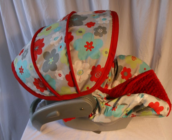 Red, Lime,White, Aqua and Gray Floral - Infant car seat cover - Graco Snug 22