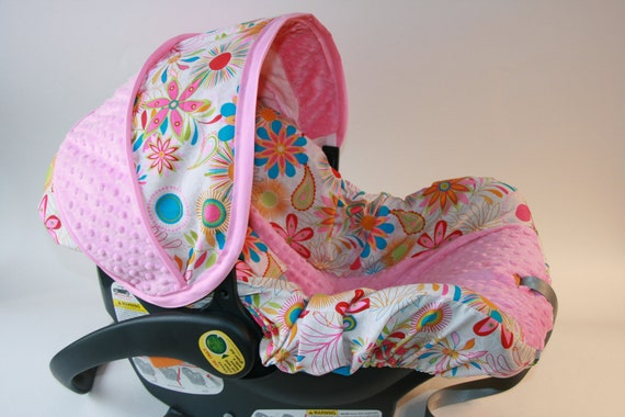 Baby Girl Infant Car Seats: Floral And Paisley Baby Girl Infant Car Seat Cover-with Hot