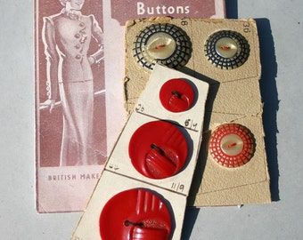 Vintage 30's Buttons Red white and blue