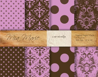 INSTANT DOWNLOAD - Digital Papers Scrapbooking Backgrounds Pink, Brown, Damask, Polka Dots, Swiss Dots Baby Printable 12x12 jpg