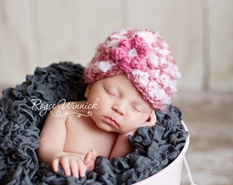 PDF Instant Download Easy Crochet Pattern No 261 Striped Gathered Beanie Beginner photo prop All sizes from preemie to adult