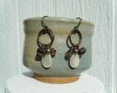 Pearl Stone and Glass Vintaj Brass Earrings