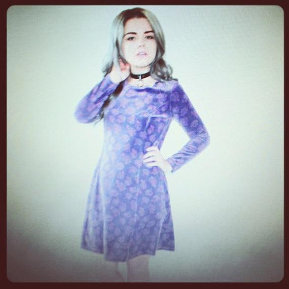 Floral Purple Velvet Dress