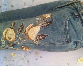 SMALL, Beaded Embroidered Denim Jeans