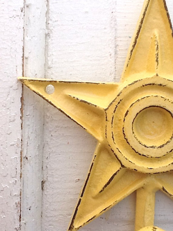 Buttercup Yellow Star Wall Hook - Bright Cast Iron - Distressed Shabby - Rustic - Metal Wall Decor -  Pottery Barn - Baby Nursery
