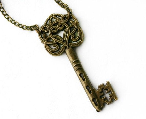 Skeleton Key Necklace in Antique Brass