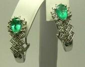 Eye Popping! 3.50cts Colombian Emerald & Diamond Earrings 14k