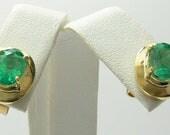 Subtle Elegance! 3.20tcw Colombian Emerald & Gold Stud Earrings 14k