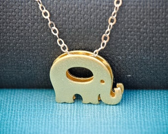Elephant Necklace Gold, Good Luck Charm, Dainty Tiny Elephant Jewelry, Everyday Necklace