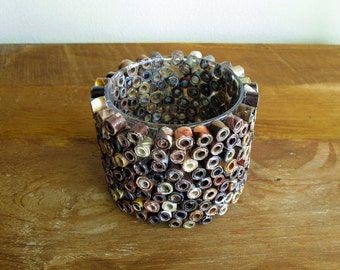 Votive Candle Holder - Brown Candle Holder Made with Recycled Magazines