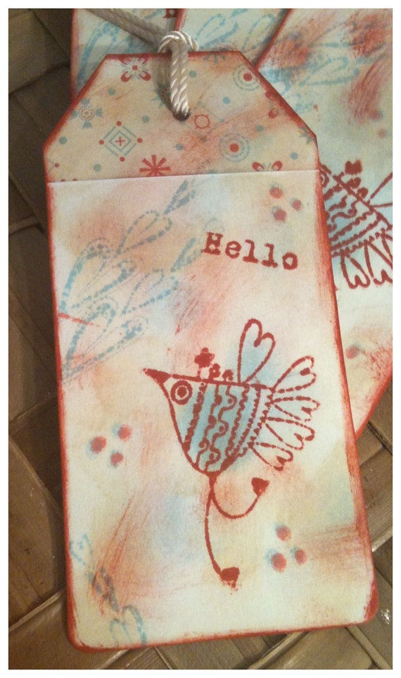 FOUR Bluebird of Happiness Hearts Hello Retro Foulard Print Brick Red Cystal Blue Antique Linen Ink Stamped Handmade Gift Tags