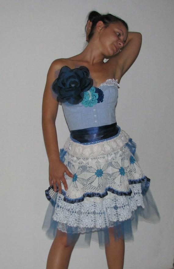 Carrie Bradshaw OOAK Vintage Lace Handmade Dress S/M