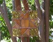 Quilt Block, Stained Glass Quilt Panel, Amber Gold Copper Suncatcher Star, Pinwheel, Geometric Flower