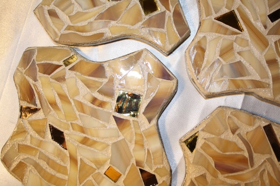 Funky Shaped Mosaic Coasters in Shades of Tan, Gold & Caramel Stained Glass - Set of 4 - OOAK