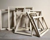 Empty Wood Frames Set of 8 Distressed Antique White and Gold Cottage Chic Decor Picture Frames Vintage Wedding Decor