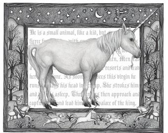 8x10 Giclee Illustrated Print of Unicorn Mythological Beast