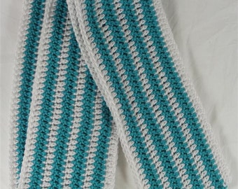 Skinny White and Blue Mint Stripes Scarf - Ready to Ship