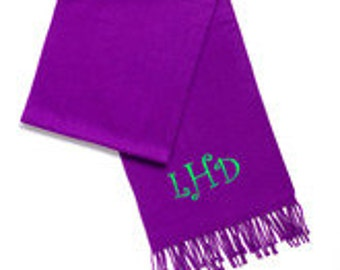 Monogrammed Purple Cashmere Feel Scarf