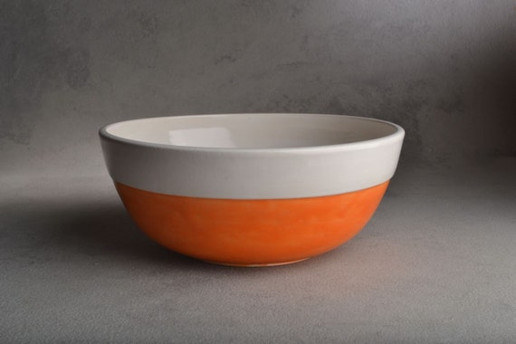 Serving Bowl : Tangerine and White Stoneware Serving Bowl by Symmetrical Pottery