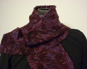 Purple scarf, merino wool, super soft, basketweave texture knit