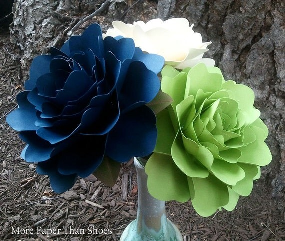 Paper Flowers - Wedding Decorations - Home Decor - X-Large Flowers - Set of 12 - Midnight Blue - Apple Green - Ivory - MADE TO ORDER