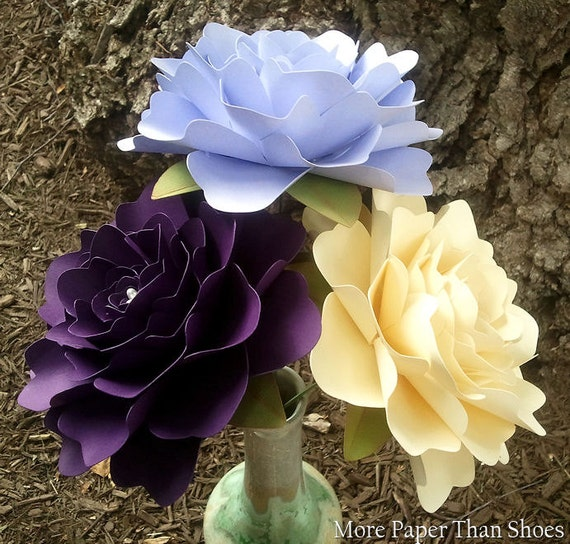 Paper Flowers - Wedding Decorations - X-Large Flowers - Set of 12 - Dark Purple - Periwinkle - Ivory - MADE TO ORDER