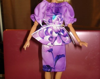 Peasant Style top & skirt set in purple floral for Fashion Dolls - ed233