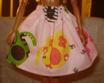 Fashion Doll Coordinates - Pink skirt with colorful Elephants - es80